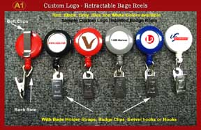Sample 1 - RT-02 Custom Logo Retractable Reels with Badge Clips for Name Badge holders or ID Card