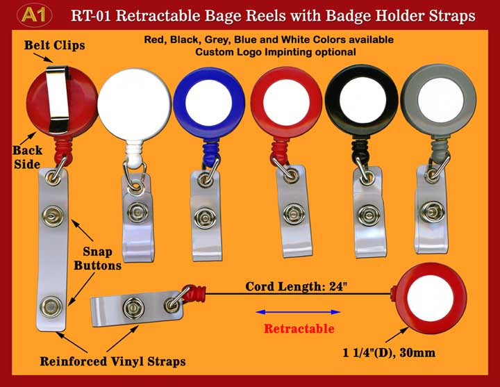 RT-01 are badge reels, ID holder reels, retractable reel with reinforced plastic vinyl 