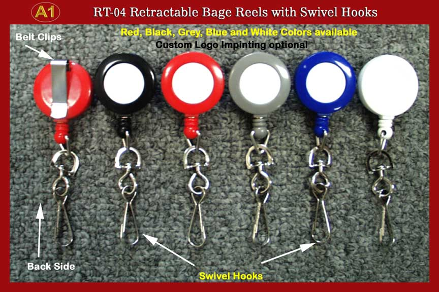 Badge Reel: RT-04 Retractable badge Reels with Swivel Hook for ID card or Name Holders